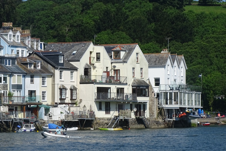 Balconies overlooking the Fowey riverside